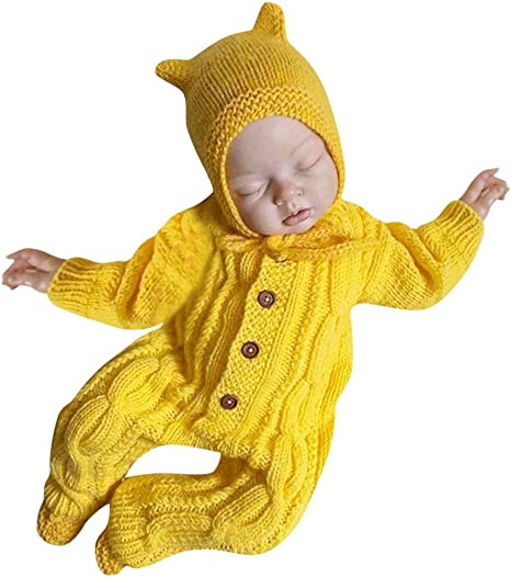 US Newborn Baby Girl Boy Clothes Knitted Romper Jumpsuit Solid Outfits 2Pcs Set
