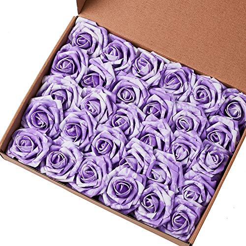 Marry Acting Artificial Flower Rose, 30pcs Real Touch Artificial Roses for DIY Bouquets Wedding Party Baby Shower Home Decor (30pcs Purple White)