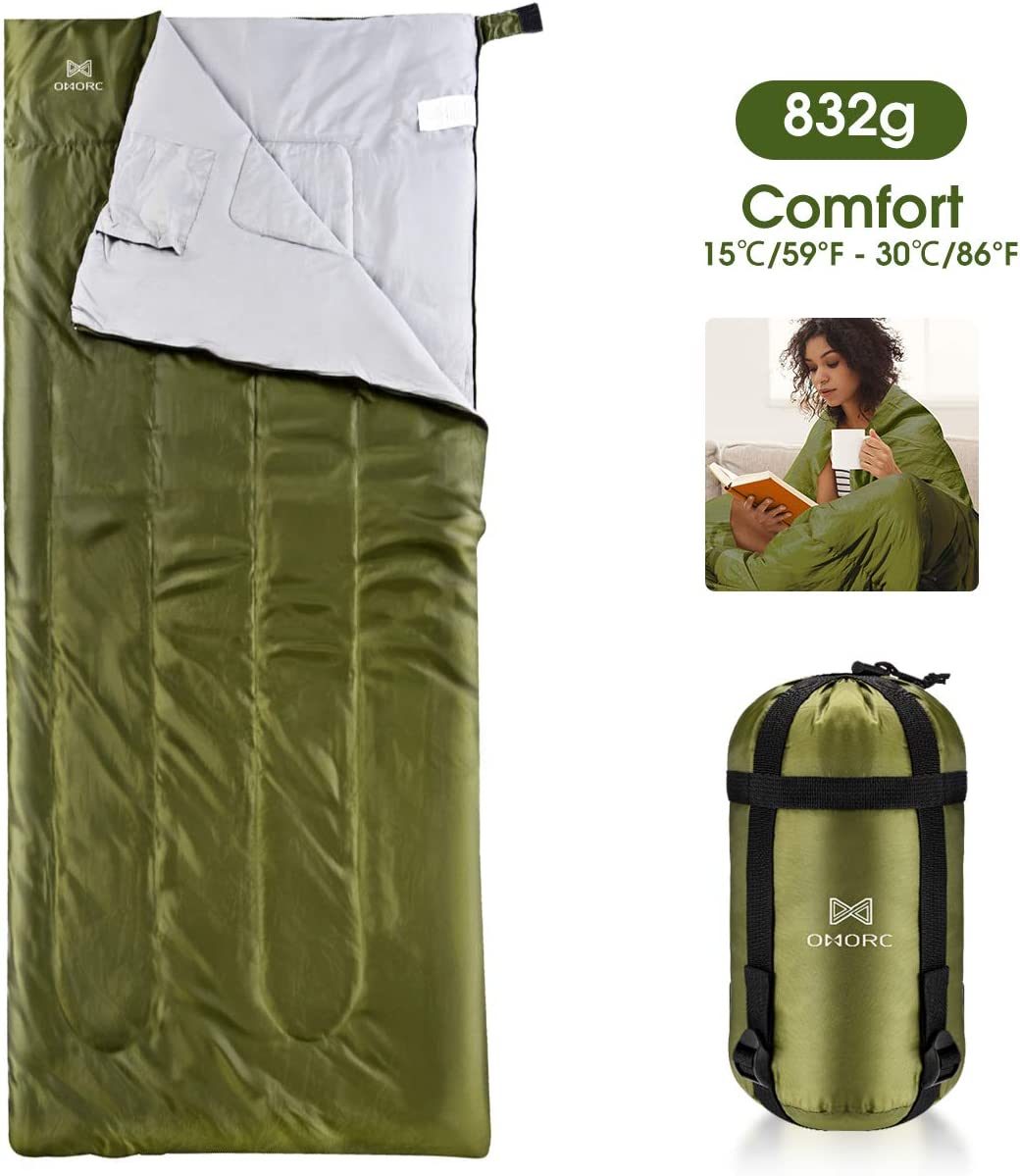 Camping Sleeping Bag – 3 Season Warm Cool Weather – Summer, Spring, Fall, Lightweight, Waterproof for Adults Kids – Camping Gear Equipment, Traveling, and Outdoors