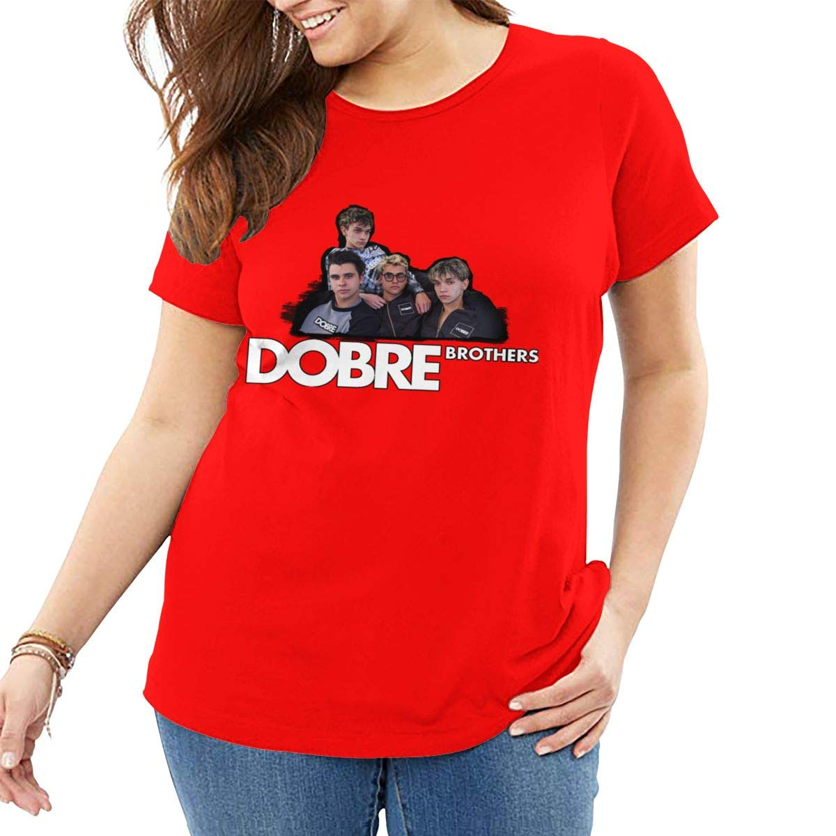 Fat Women's T Shirt Dobre Brothers Tee Shirts T-Shirt Short-Sleeve Round Neck Tshirt for Women Youth Girls Plus Size Red 3XL by BKashy