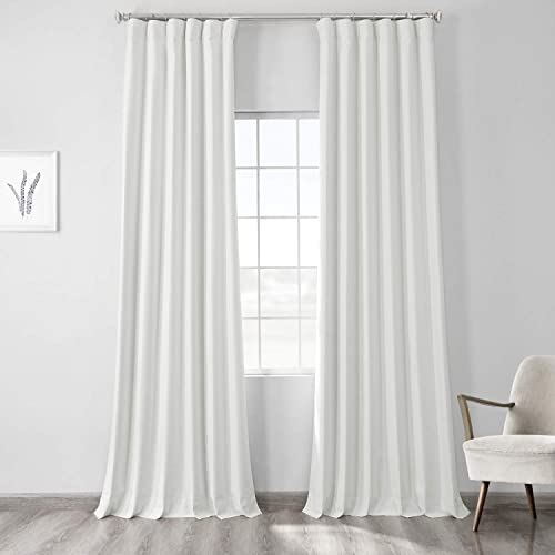 HPD Half Price Drapes FLCW-CBO191-96 Vintage Thermal Cross Linen Weave Max Blackout Curtain 1 Panel