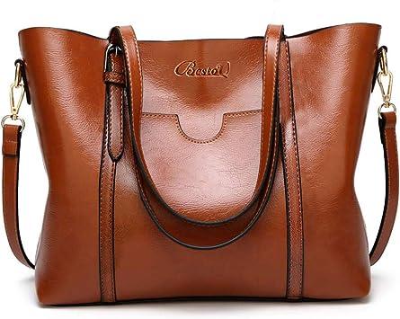 BestoU Damen Handtasche Leder Tasche Shopper Damen