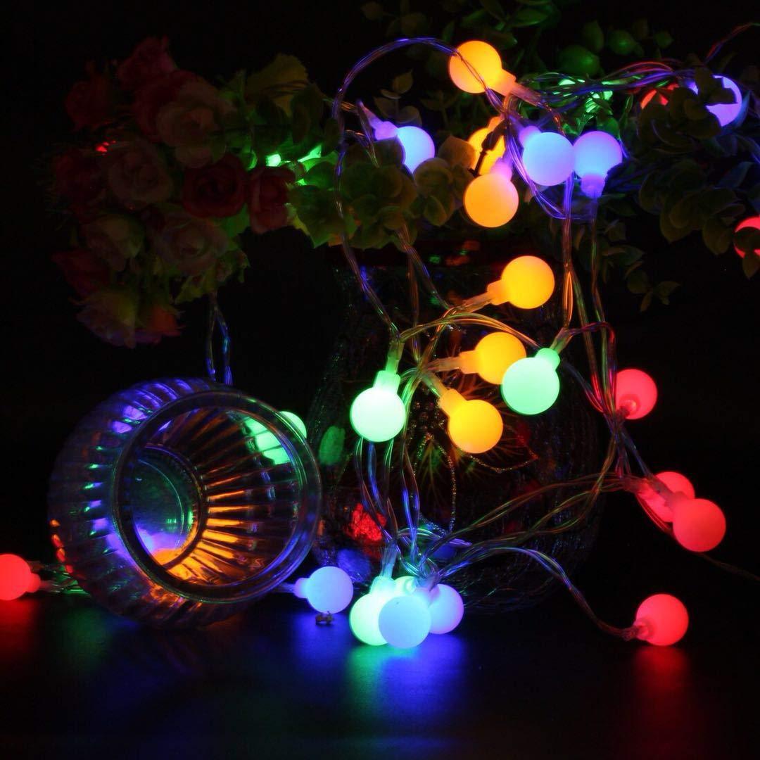 BXROIU 40er Klein Ball LED Lichterketten Batterie Betrieb und 8 Programm IP65 wasserdicht, für Party,Weihnachten, Halloween, Hochzeit, Beleuchtung Deko (Mehrfarbig)