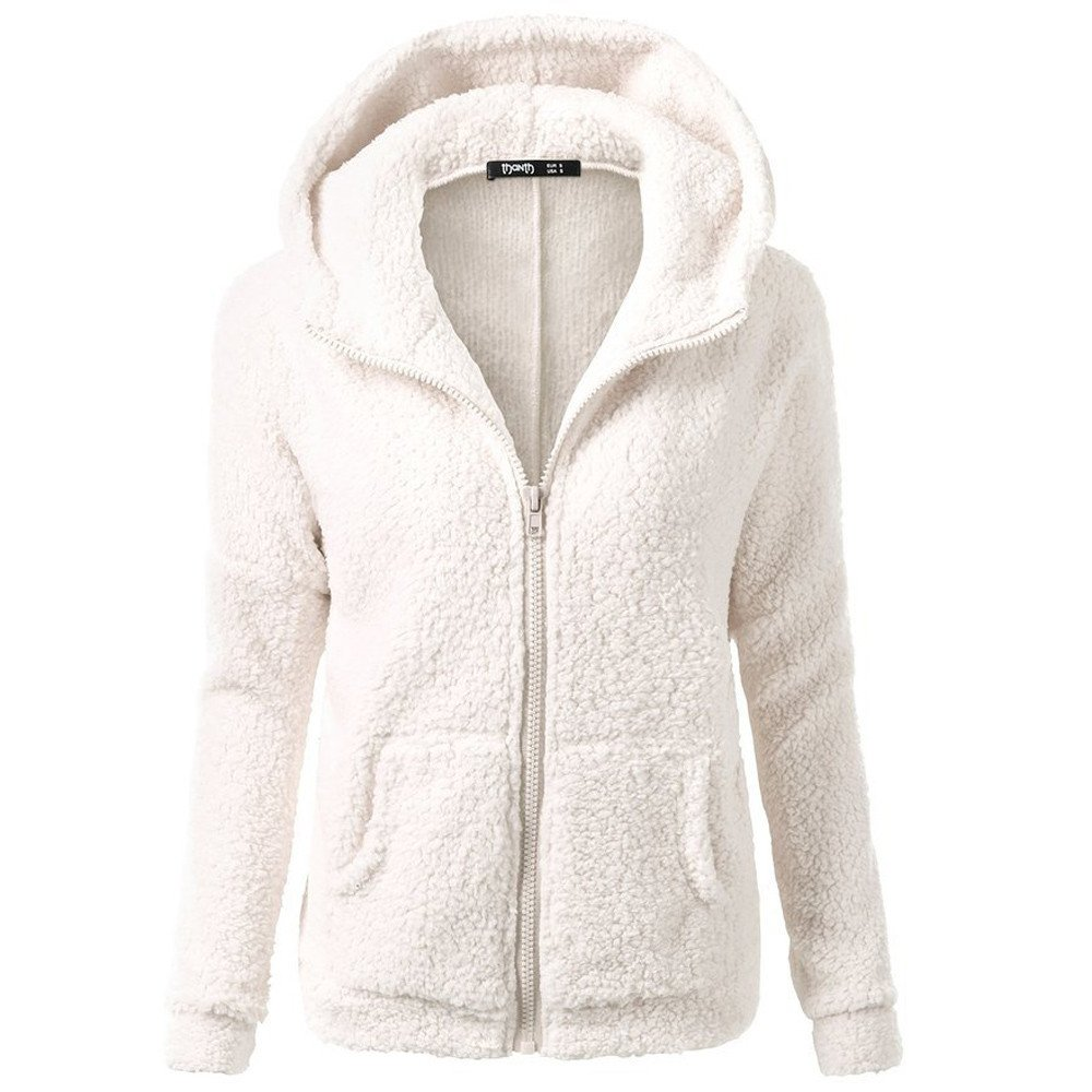 WUAI-Women Fuzzy Fleece Hoodie Sweatshirt Zip Up Winter Warm Oversized Sherpa Pullover Coat Outwear(White,XX-Large) by WUAI-Women
