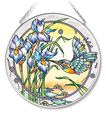 Amia Hummingbird and Iris Glass Circle Suncatcher 42541