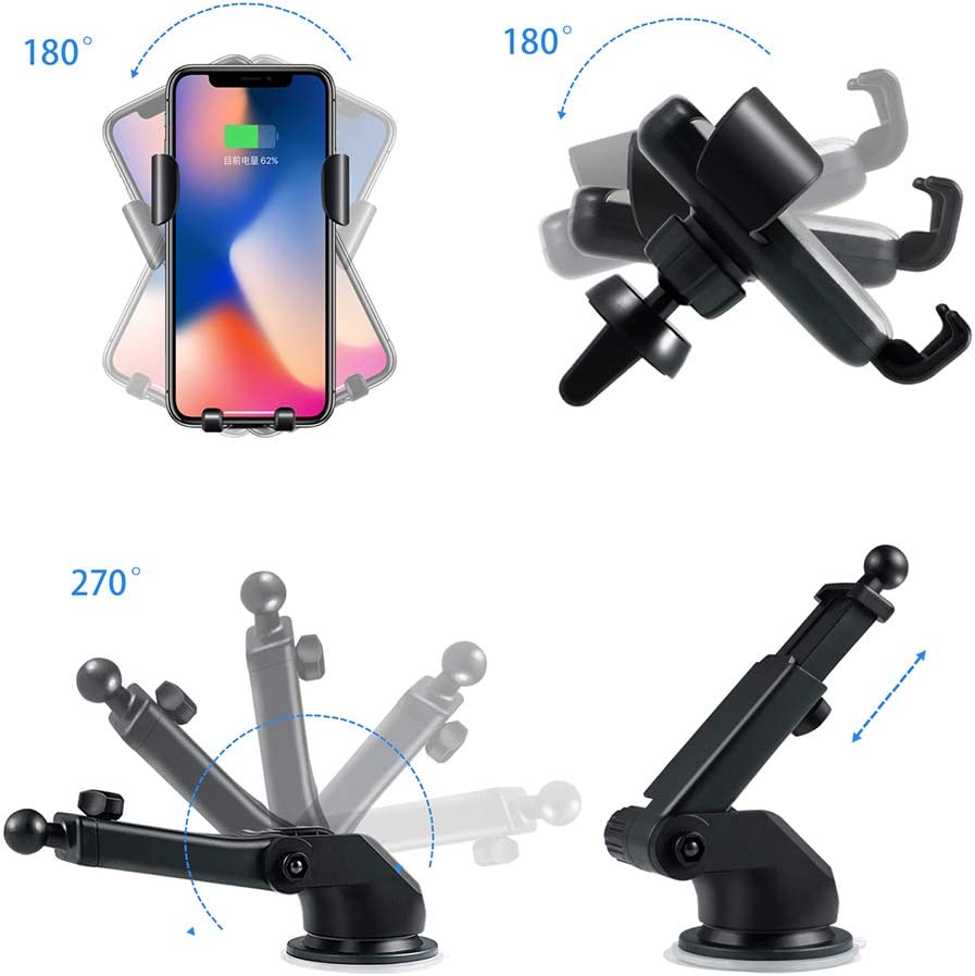 Samsung Galaxy S10 //S10+//S9 //S9+//S8 //S8+ SANCEON Qi Wireless Car Charger Mount,10W Fast Charging Car Phone Holder Air Vent Dashboard Compatible with iPhone Xs//Xs Max//XR//X// 8//8 Plus