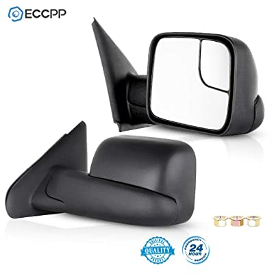 ECCPP Towing Mirrors Replacement fit for 03-08 Dodge Ram 1500 2500 3500 Truck Black Manual Tow Mirrors Side View Mirror Pair Set: Automotive