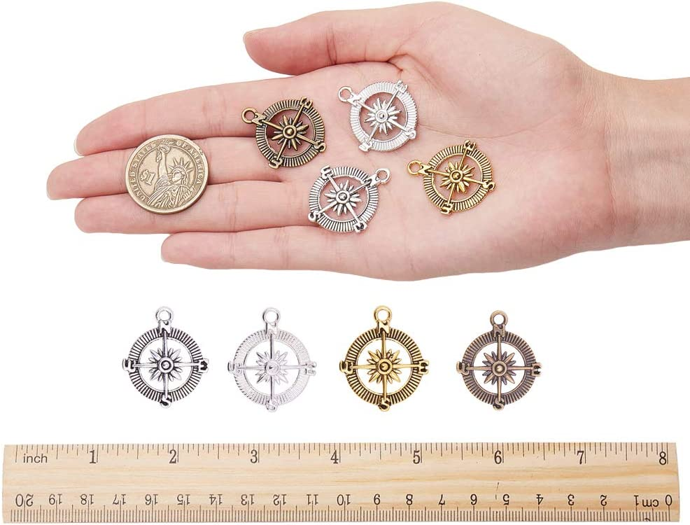 PandaHall Elite 60 pcs 4 Colors Tibetan Style Compass Shape Alloy Pendants Charm Spacer Beads for Bracelet Necklace Jewelry DIY Craft Making Mixed Colors