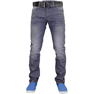 Life /& Glory Mens Slim Fit Jeans Designer Stretch Button Denim Trousers Pants