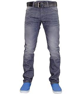 New Crosshatch Brand Designer Mens Slim Fit Raw Wash Denim jeans With Free Belt