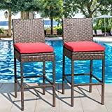 Sundale Outdoor 2 Pcs All Weather Patio Furniture Brown Wicker Barstool  With Cushions, Red