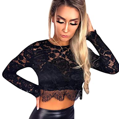 b97d3d24837 Fashionhe Womens Lace Crop Tops Long Sleeve O Neck Blouses Sexy Perspective  Slim T Shirt(