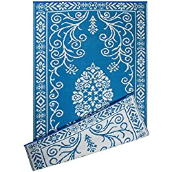 DII Contemporary Indoor/Outdoor Lightweight Reversible Fade Resistant Area Rug, Great For Patio, Deck, Backyard, Picnic, Beach, Camping, & BBQ, 4 x 6', Blue Garden Floral