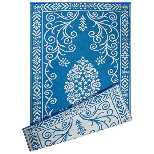 DII Contemporary Indoor/Outdoor Lightweight Reversible Fade Resistant Area Rug, Great for Patio, Deck, Backyard, Picnic, Beach, Camping, BBQ, 4 x 6', Blue Garden Floral by DII