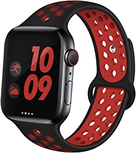 EXCHAR Sport Band Compatible with Apple Watch Band 44mm Series 5/4 Breathable Soft Silicone Replacement Wristband Women and Men for iWatch 42mm Series 3/2/1 Nike+ All Various Styles M/L Black-Red