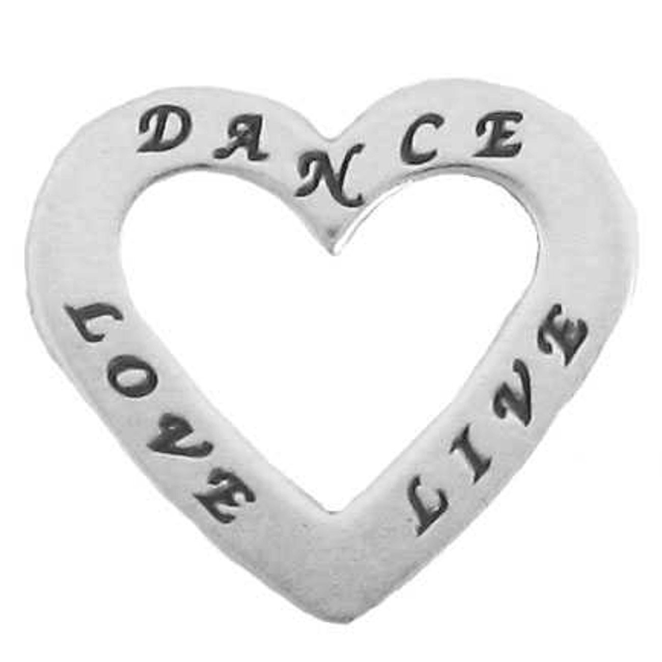 Sterling Silver 30'' Men's 1.5mm Two Sided DANCE LIVE LOVE Heart Shaped Slide Pendant Necklace