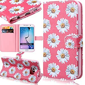 Galaxy S6 Case, Galaxy S6 Wallet Case, ISAKEN Colorful Pattern Pu Leather Magnetic Flip Wallet Case, Pattern Print Printing Drawing Cell Phone Case Mobile Cover Protect Skin Stand Case Cover For Samsung Galaxy S6 G920 (2015 Version)- Hot Pink Daisy