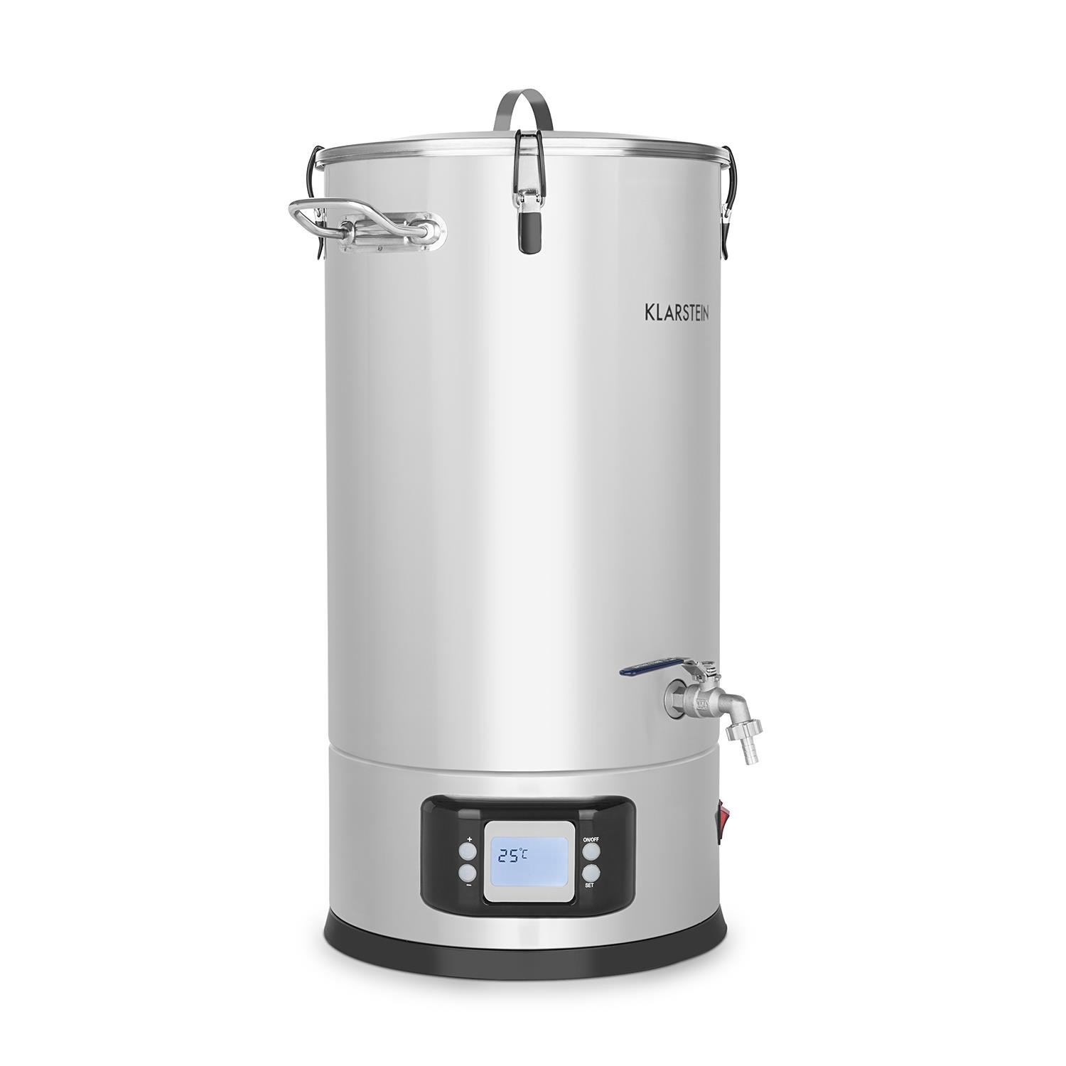 Klarstein Maischfest • Beer Brewing Device • Mash Tun • 5-Piece Set • 1500 and 3000 Watts Power • 25-litre Capacity • LCD Display and Touch Control Panel • Temperature • Stainless Steel by KLARSTEIN (Image #1)
