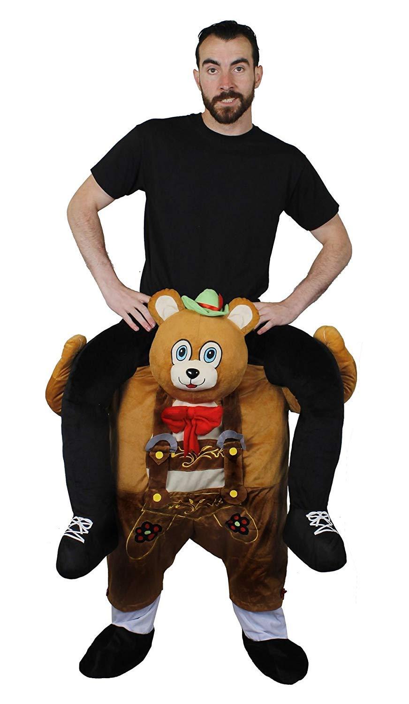 ONE SIZE PLUSH OKTOBERFEST STYLE GERMAN RIDE ON BEAR COSTUME BAVARIAN BEAR PICK ME UP FANCY DRESS COSTUME