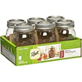 Ball Regular Mouth Jars, 473 ml Capacity, 6-Piece Set