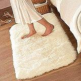 HUAHOO 80cm x 120cm Off-White Area Carpet white rug for teens baby room nursery Bedroom / Living Room / White Carpet