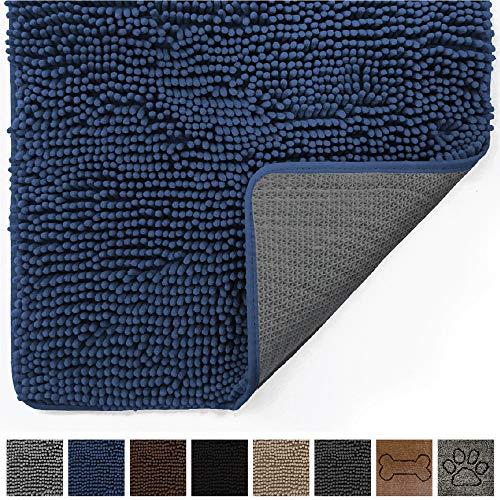 Gorilla Grip Original Indoor Durable Chenille Doormat, Large (36x24) Absorbent, Machine Washable Inside Mats, Low-Profile Rug Doormats for Entry, Back Door, Mud Room, High Traffic Areas (Navy Blue)