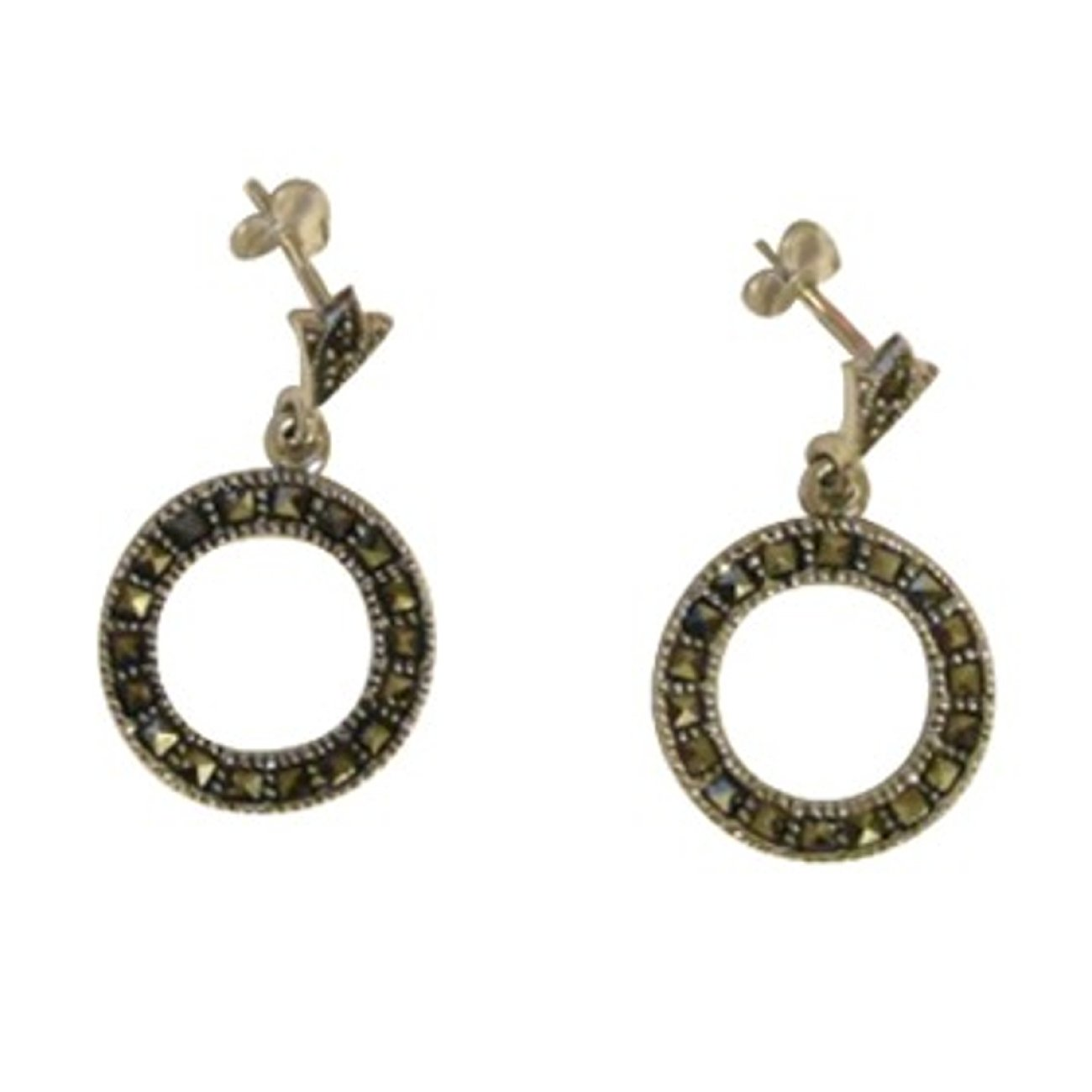 Sterling Silver Open Circle Marcasite Post Drop Dangle Earrings