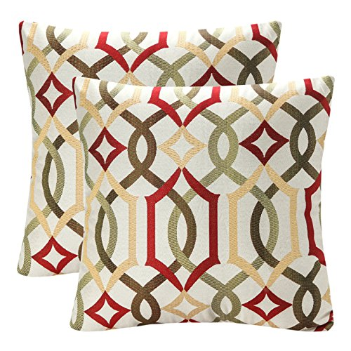 Gold Decorative Toss Pillow - Pack of 2 SimpleDecor Jacquard Geometric Links Accent Decorative Throw Pillow Covers Cushion Case Multicolor 18X18 Inch Red