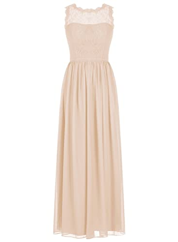 ALAGIRLS Long Chiffon Bridesmaid Dress Lace See-through Prom Dress