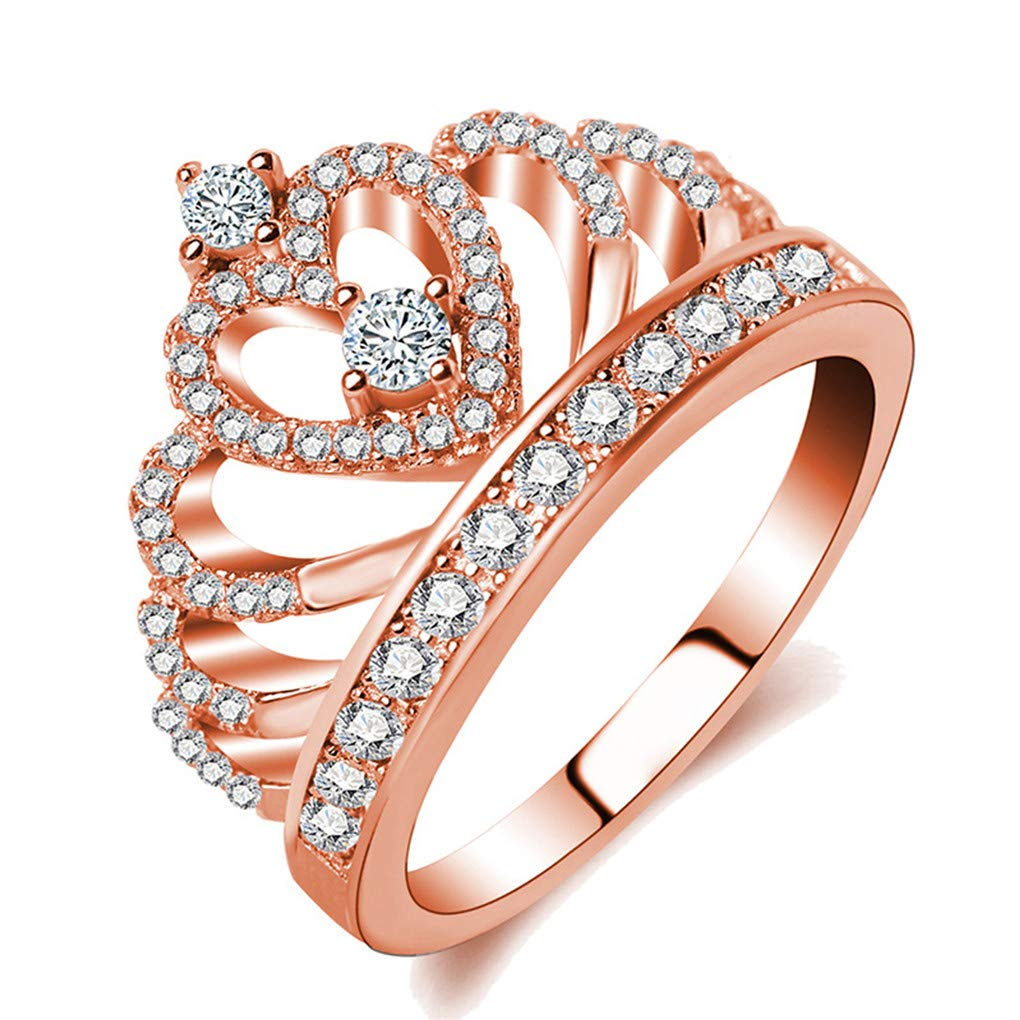 Ferusshomic Princess Style Hollow Heart Silver//Rose Gold Color Crown Ring Engagement Wedding Party 1514 5