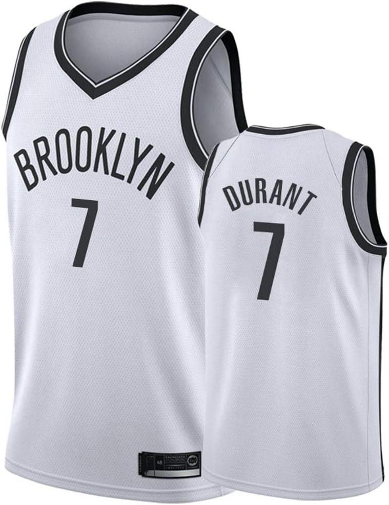transpirables mangas ropa del entrenamiento del chaleco tapas de aficionados para el baloncesto,A,S 170CM//50~65Kg Los hombres de Jersey Nets de Brooklyn # 7 Kevin Durant retro bordado Jersey