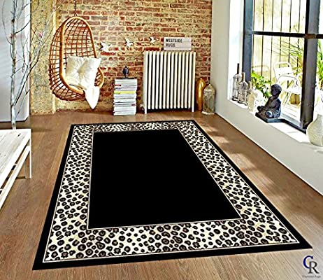 Amazoncom Champion Rugs Leopard Skin Black And White Border Area