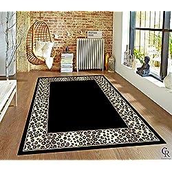 "Modern Animal Print Leopard Safari Bordered African Carpet Area Rug (5' 3"" X 7' 5"")"