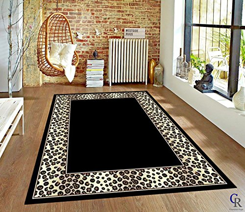 - Champion Rugs Leopard Skin Black and White Border Area Rug Animal Print Carpet (5' 3
