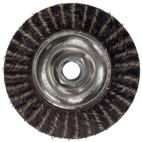 PFERD 83507 Power ECAP Encapsulated Crimped Wire Wheel Brush with Stringer Bead Twist, Threaded Hole, Carbon Steel Bristles, 6