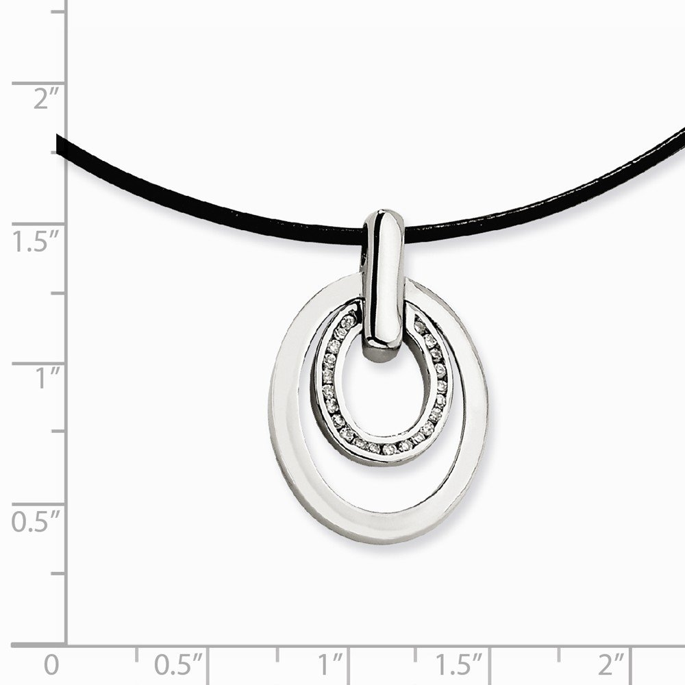 Stainless Steel Polished Leather Cord Fancy Lobster Closure Cubic Zirconia Pendant Necklace 18 Inch