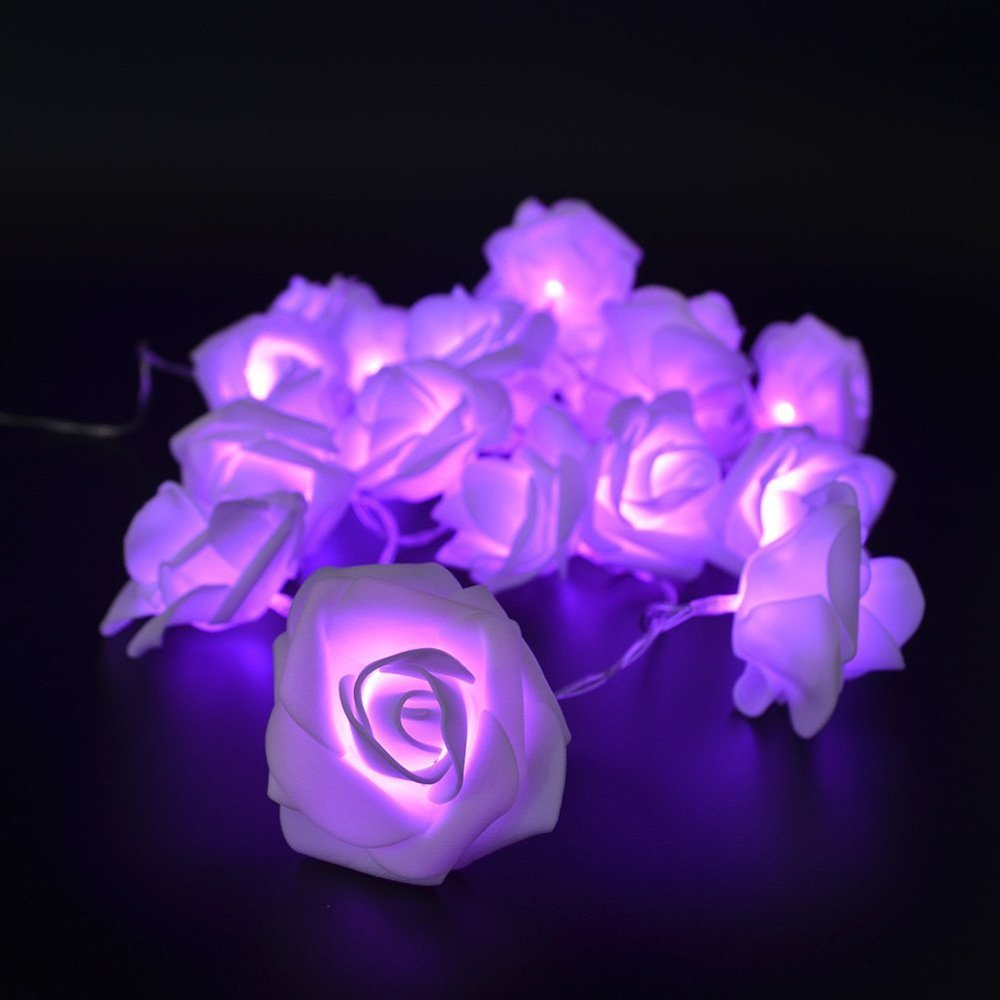 Avanti 20 Led Battery Operated String Romantic Flower Rose Fairy Light Lamp Outdoor for Valentine's Day, Wedding, Room, Garden, Christmas, Patio, Festival Party Decor (Purple)
