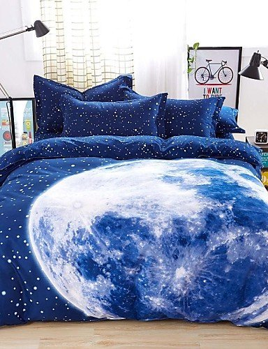 Earth Linen (wwgy Mingjie? Bedding Sets 4pcs Queen Size adn King Size Boys and Girls Korean Blue Earth Bed Linen China Wholesale , queen)