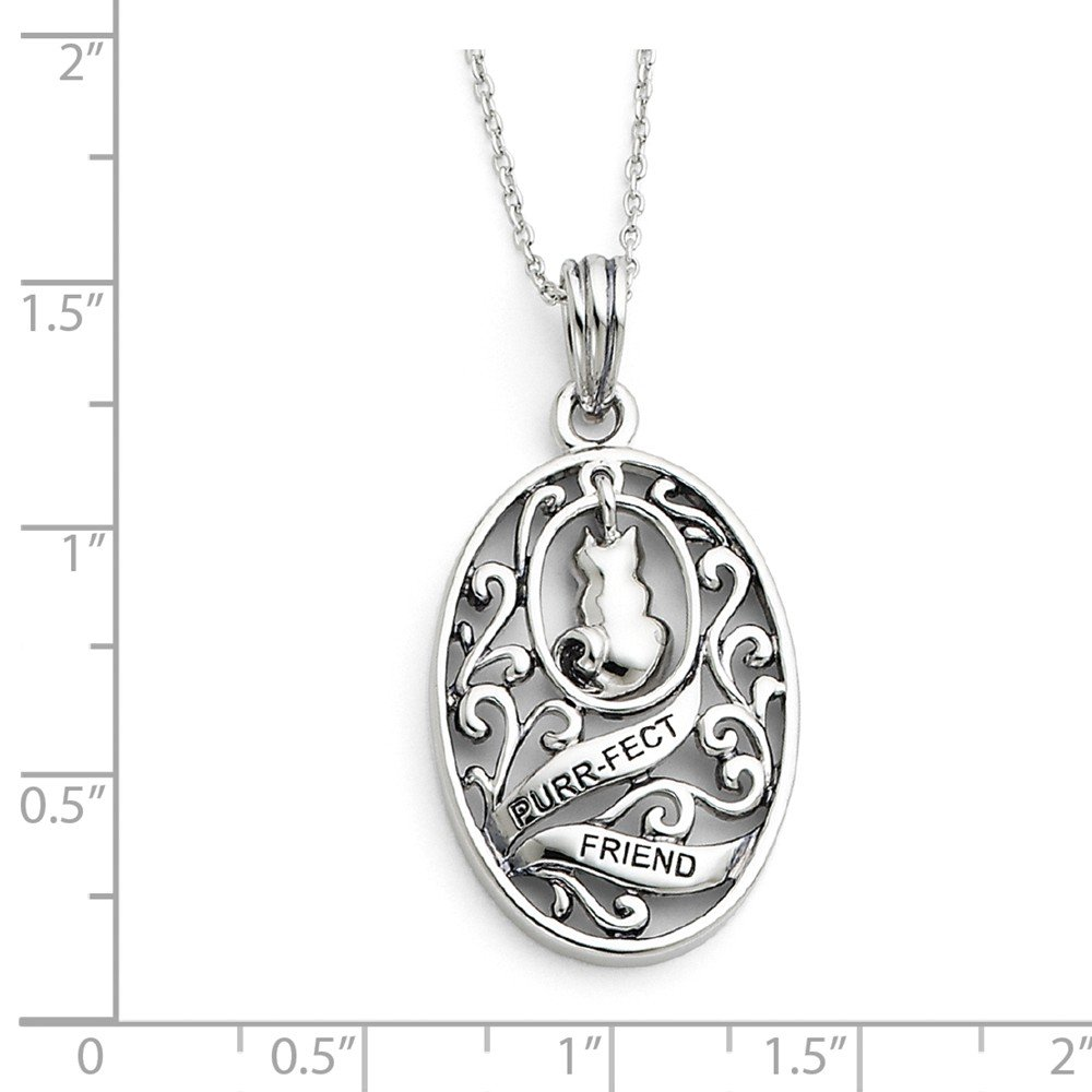 Sentimental Expressions Sterling Silver Antiqued Animal Friends-Cat 18in Necklace