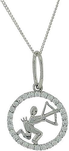 The Olivia Collection TOC Sterling Silver CZ Set Zodiac Sagittarius Pendant Necklace 18