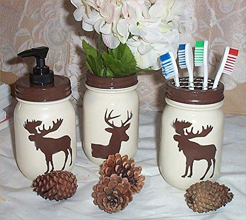 Moose Deer Mason Jars Distressed Country Farm Soap Pump Toothbrush Holder Flower