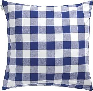Indes Fuggerhaus Rosi Checkered Decorative Cushion Cover - Navy, 50 x 50 cm