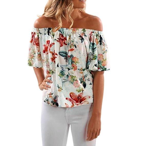 Winwintom mujeres de moda hombro sin mangas floral impreso blusa Casual Tops T Shirt (S