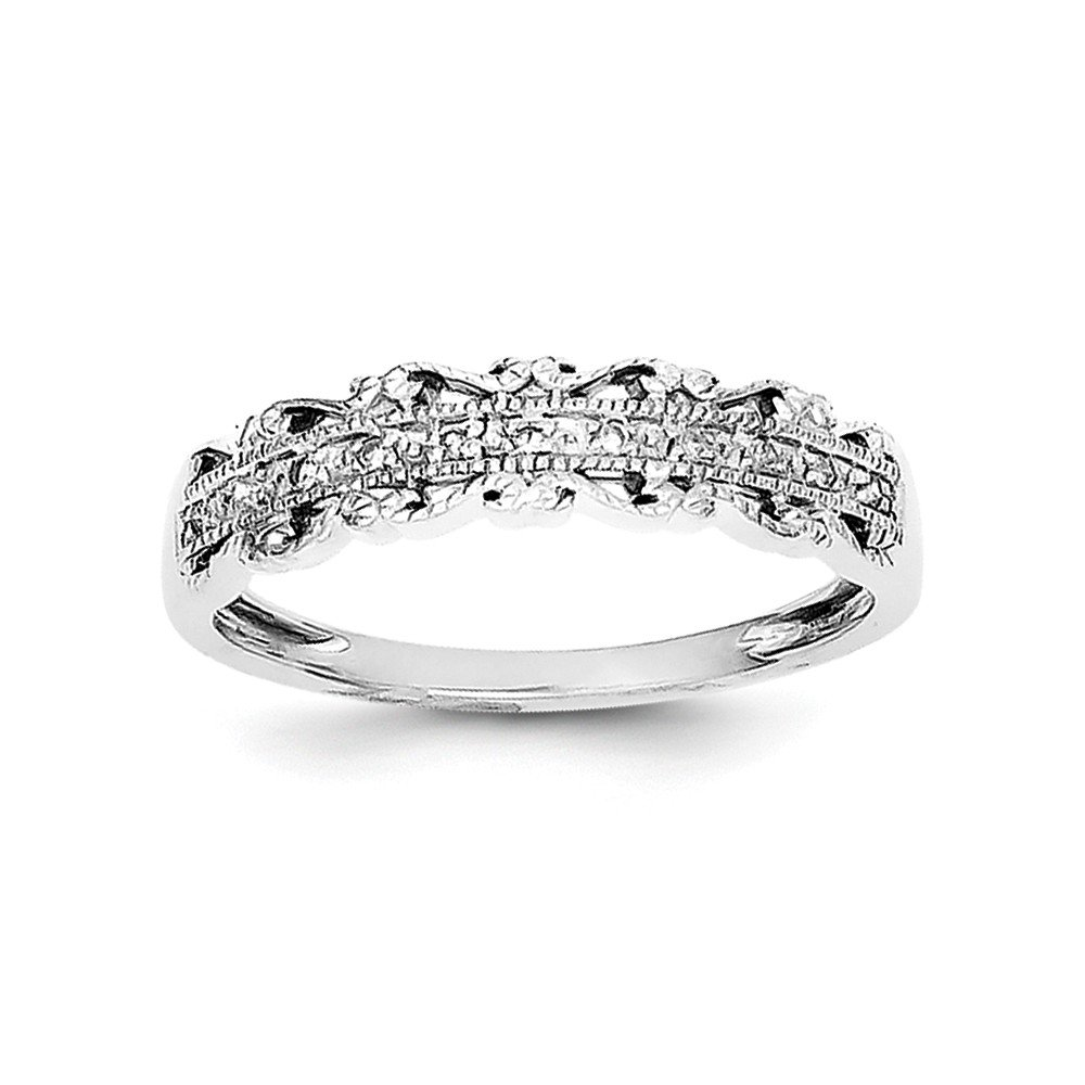 Size 8 Solid 925 Sterling Silver Diamond Wedding Band (2mm)