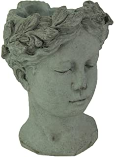 Cement Planters Content Face Cement Greek Lady Head Planter 6.25 X 8.5 X 6  Inches Gray