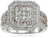Anillo de Oro Rosa de 14 Quilates (14k) con Diamantes de Oro Blanco (3/4 cttw), Tamaño 7