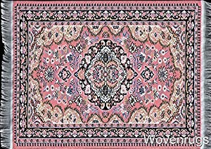 Pink Woven Rug Mouse Pad   Oriental Style Carpet Computer Mouse Mat