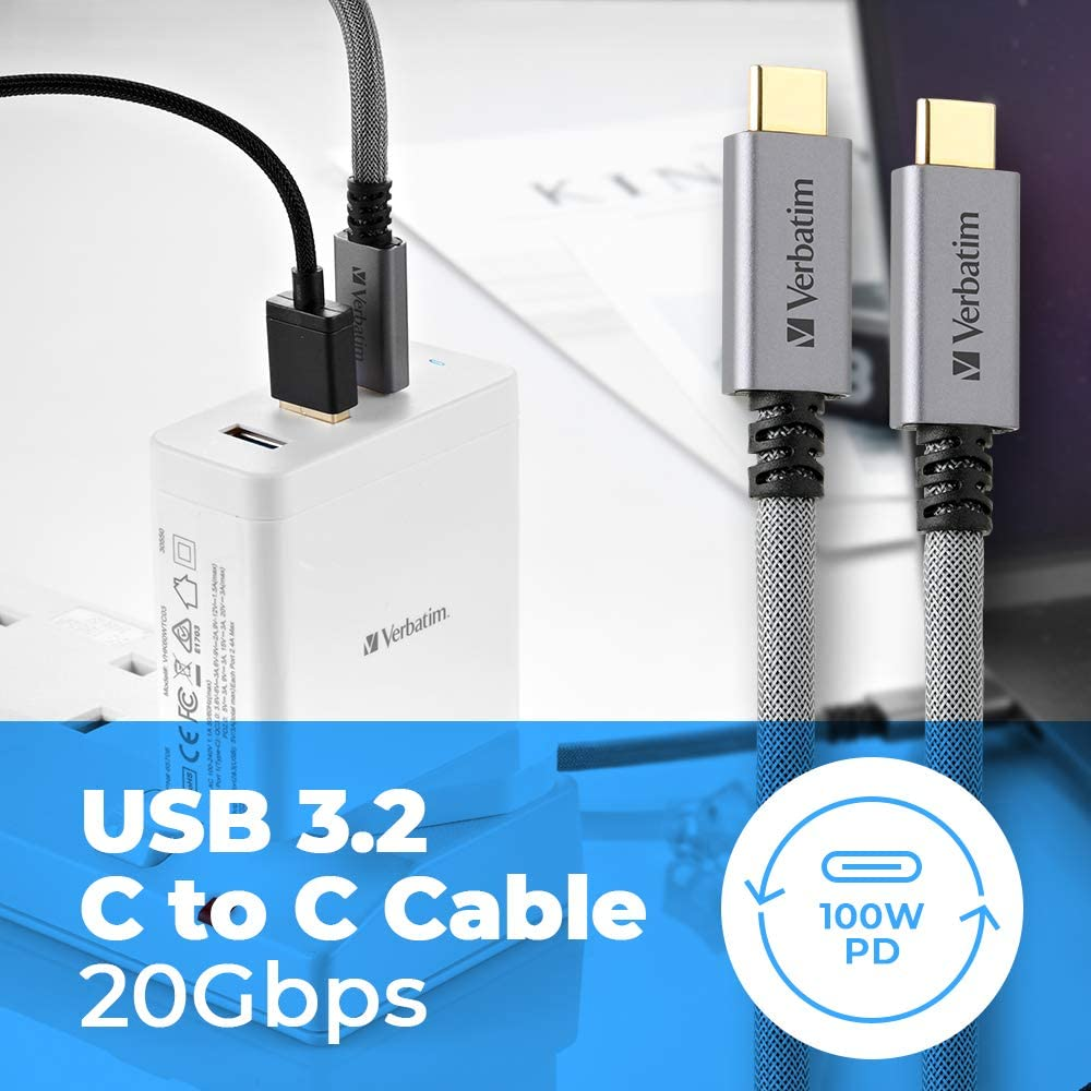 Verbatim USB 3.2 C to C Cable//PD 100W// QC 3.0// Pure Copper Wire//Up to 20Gb//s Data Transfer