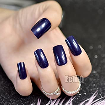Amazon Galaxy Pattern Glitter Press On Nails Navy Blue Dark