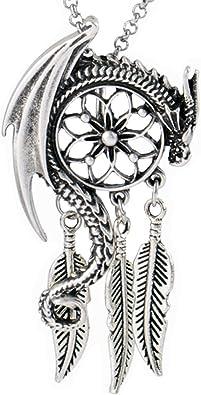 antique silver plated ouroboros norse dragon pendant viking necklace